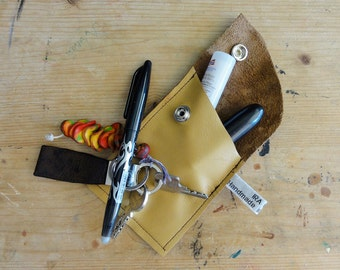 Beige Leather Case. Repurposed Leather Case. Eco Friendly Leather Case. Small Leather Case. Small Leather Pouch.