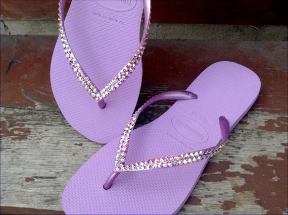 Purple Flip Flops Lilac Orchid Havaianas Slim flats Custom Crystal Lavender Violet w/ Swarovski Rhinestone Jewels Bling Bridal Wedding Shoes