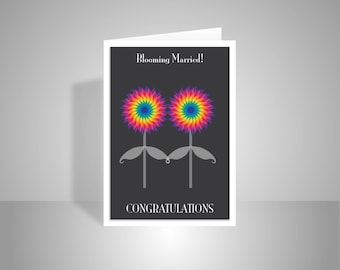 Gay wedding card,lesbian wedding card, gay greeting card, LGBT wedding card, blooming married, gay congratulations card, rainbow flowers