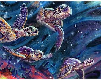 "Turtle Tapestry - Large Format Sea Turtle Art -  ""Intershellar"" by Black Ink Art"