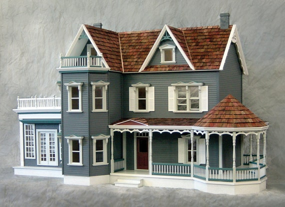 Scale One Inch, The Rose Garden Mansion, A Harbourside Deluxe Victorian Wooden Dollhouse Kit, Scale One Inch, Treasury List