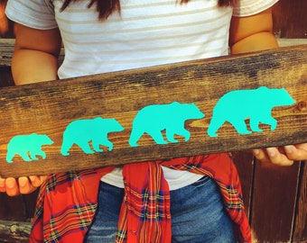 Custom Wood Bear Family Sign Mother's Day Gift Customized Wooden Family Bear Sign Cabin Decor Gallery Wall Farmhouse Rustic Vintage Style
