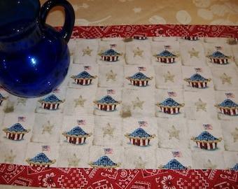 Table Runner American Pie Patriotic Red White  Blue Kerchief Tabletop Dining