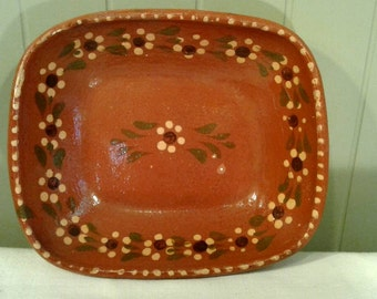 Vintage Mexican Pottery Bowl Terracotta Red Clay Hand Painted Glazed Flowers Mexico Folk Art Serving Display Talavera Collector Dish Plate