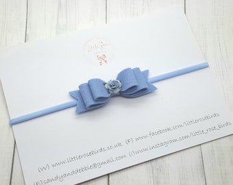"Blue Small 3.5"" Felt Flower Hair Bow - Christening Headband - Baby Bows - Baby Headband - Photo Prop - Hairclip - Girls Hair Accessories"