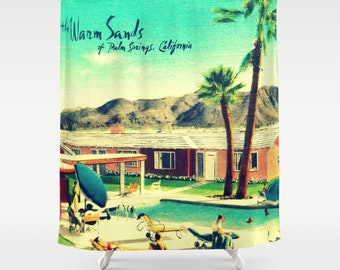 Mid Century Motel Shower Curtain, Palm Springs Shower Curtain, Mid Century Bathroom, Cloth Shower Curtain Mid Century Modern Bathroom Decor
