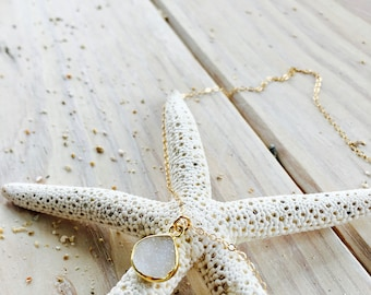 Handmade 14K Gold Necklace White Druzy Pendant Bijoux Jewelry Hand Made on Maui Beach Jewelry Best Gifts for Her Boho Gift Ideas Namaste