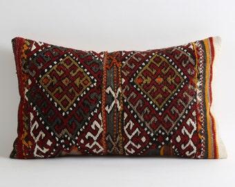 Lumbar kilim pillow cover, 80 years old bohemian pillow, 12x20 boho pillow