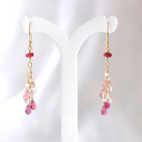 14K Gold. Multi-Color Sapphire earrings, Pink sapphire Earrings, White Sapphire Earrings, September Birthstone Earrings, Gift For Her