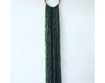 Bamboo Hoop Wall Hanging in Moss Green