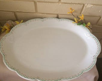 "Vintage Vodrey China Serving Platter, large,17"" oval scalloped edge,Home and Living, Kitchen and Dining, Kitchen and Serving, fine China"