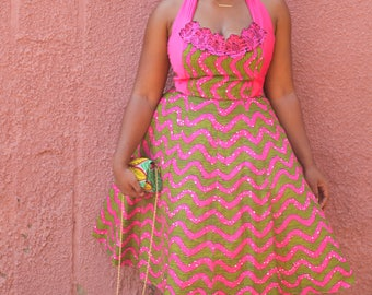 African Print Halter Cocktail Dress