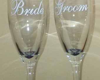 Bride & Groom set of glasses