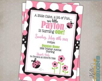 Custom Pink Ladybug Girl's Birthday Party Invitation, Children's 1st Birthday Invite, Printable #B111