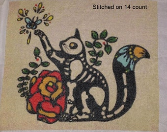 Skeleton Cat Cross Stitch, Day of The Dead Cat, Illustrated Ink Art, CROSS STITCH KIT, Skeleton Cat Art, Tattoo Cross Stitch, Kitten Stitch