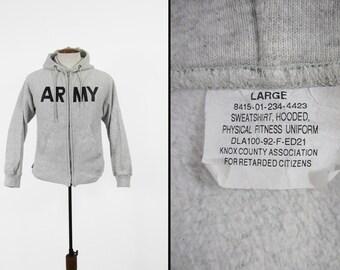 Vintage US Army Hoodie Sweatshirt Heather Grey Zip Up - Size Large