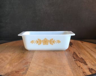 Pyrex Butterfly White Gold Loaf Pan Bread Pan 913