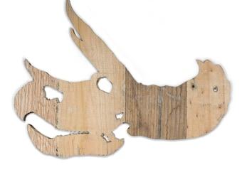 Reclaimed Wood Dinosaur Skull - Triceratops