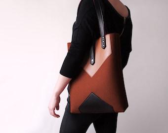 Brown Black Wool Felt Genuine Leather Tote Bag