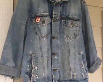 Vintage Levis Signature Denim Jacket w/ Led Zeppelin Band Pin