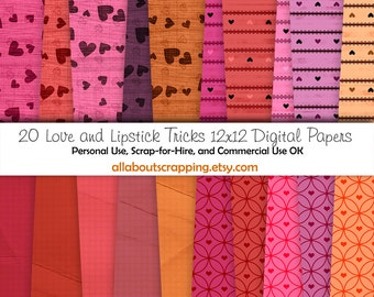 "12"" by 12"" COMMERCIAL Use Digital Scrapbooking Paper - Love and Lipstick Tricks Digital Papers - Instant Download"