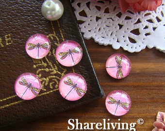 12mm Glass Dome, 8mm 10mm 14mm 16mm 20mm 25mm 30mm Round Dragonfly glass Cabochon - BCH038C