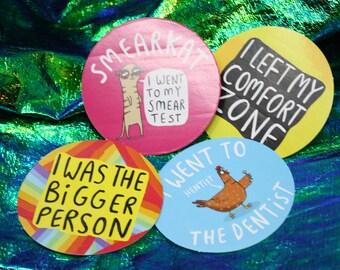 bargain pack - 4 Adulting Stickers - brave sticker - colourful sticker - reward sticker  - Katie Abey - self care - motivation