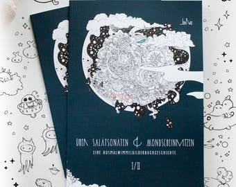 """COLORING BOOK """"Über Salatsonaten & Mondscheinkatzen I"""" illustrated by Jen Katz , signed - magical colouring for kids and adults"""