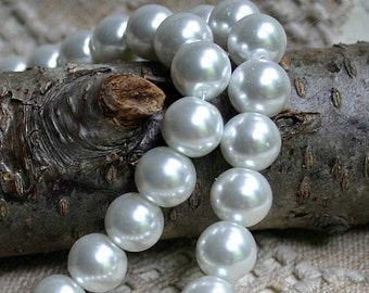 25pcs 16mm Glass Pearl Bead White Round 16 Inches Strand