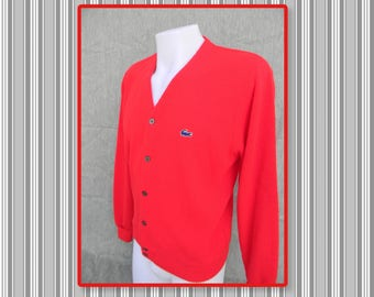 Vintage Izod of London red button down cardigan sweater-vintage size Large- blue alligator emblem- made in USA