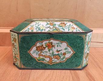 Chinoiserie bird & flower tin / England