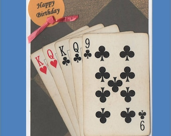 Birthday Card Games Cards - Pinochle, Bridge,Poker,Canasta,Cribbage,Euchre - Free shipping in USA