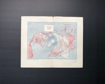 c. 1893 MEAN ANNUAL RAINFALL map - origianl antique lithograph - map of the World - weather chart - old map - North Pole view