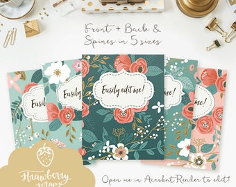 "Binder cover printable: ""BOTANICAL FLOWERS"" 5x set Covers & Spines, Binder insert, Floral binder, Teacher binder, School binder inserts"