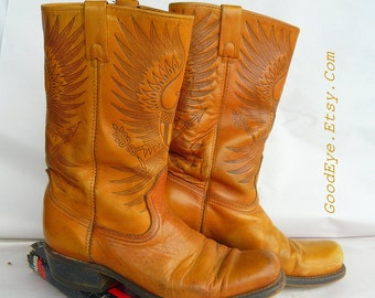 Vintage Embossed Leather Biker Boots / Men size 9. 5 D Womens 11 / Hand Tooled FEDERAL EAGLE / Square toe Flat Cowboy Western