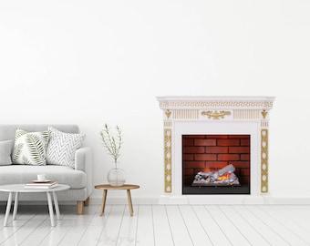 Fireplace Sticker Fireplace Decal Fireplace Print Wall Sticker Wall Art  Prints Wall Decor Home Decor Hall