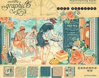 """Graphic 45 """"Café Parisian"""" 8 x 8 Paper pad Cardstock Collection"""