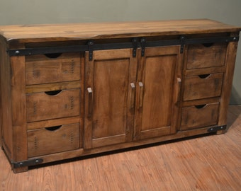 Rustic Solid Wood 70 inches Media Console, Sideboard