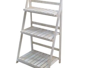 1 x White Wood Rustic Ladder Shelf - Fully Collapsible