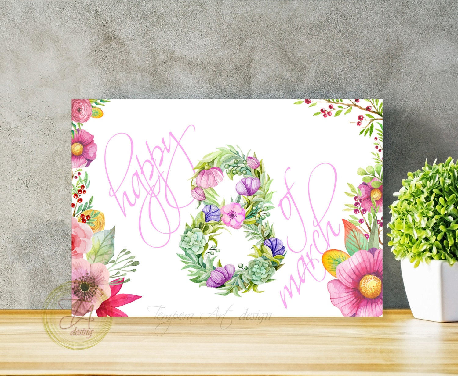 Happy 8 th of march card watercolor card flowers 8 greeting zoom kristyandbryce Images