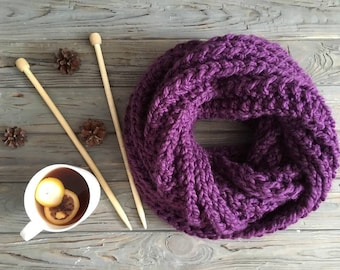 Knitted warm scarf purple,Wool Scarf, Winter Scarf, Gift for her, Oversized Scarf, Huge Scarf, loop scarf, knitted circle,  outlander scarf