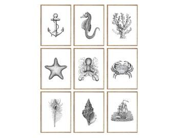 Nautical Art Print SET of 9. UNFRAMED. nautical antique, nautical prints, nautical poster, nautical decor,  nautical artwork, wall art
