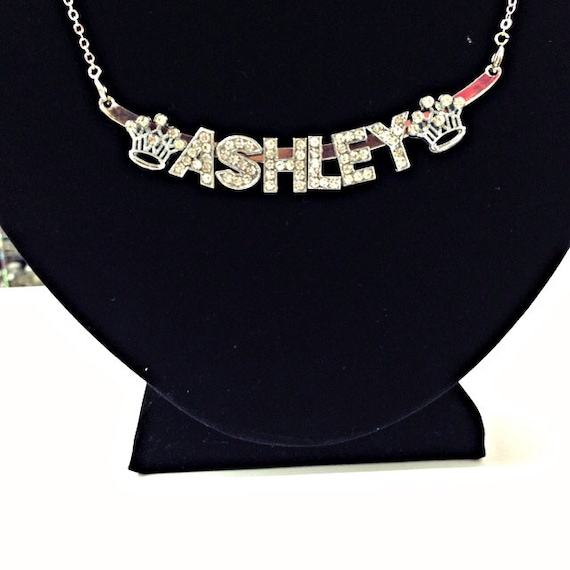 Custom design your own rhinestone name necklace name plate mozeypictures Choice Image
