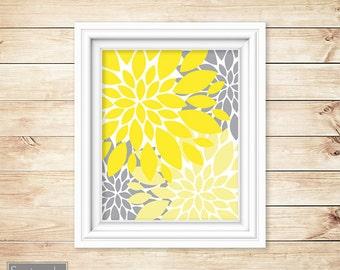 Yellow Grey Floral Flower Burst Wall Art Gray Bathroom Bedroom Livingroom Nursery Decor Printable 11x14 Digital JPG Instant Download (2)
