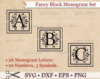 FANCY BLOCK MONOGRAM Svg, Dxf, Eps & Png Files, Regal Inspired Digital Block Letters,Silhouette Studio,Block Monogram Font Cut Files, Cricut