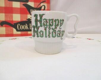 Vintage Happy Holiday Porcelain Stackable Mug