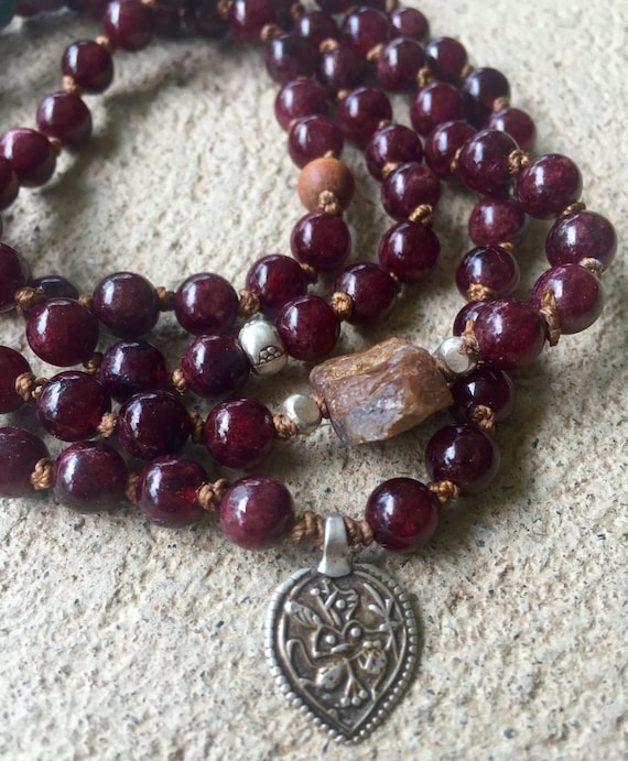 Garnet Sapphire Mala Beads 108, Hanuman Amulet Rajasthan, Hand Knotted, Thai Silver, Raw Sapphire, Turquoise, Root Chakra, Protection Beads