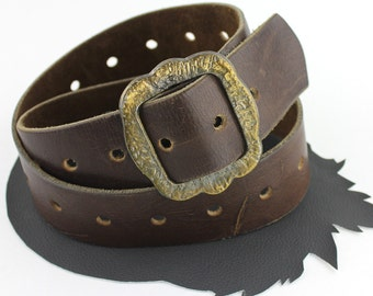 Old Western Brown Leather Belt with Adjustable Length Brass Buckle - up to 35 inches