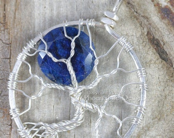 Celestial Jewelry Blue Sapphire Blue Moon Tree of Life Pendant Midnight Navy Sterling Silver Wire Wrapped September Birthstone Jewelry