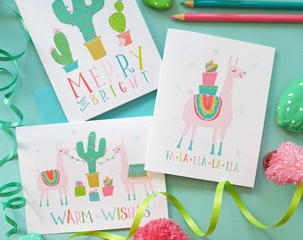 Llama Christmas Cards, fa-la-llama, Warm Wishes, Merry and Bright, Christmas cactus, Seasonal Note Cards, Happy Holidays, Set of Four Cards